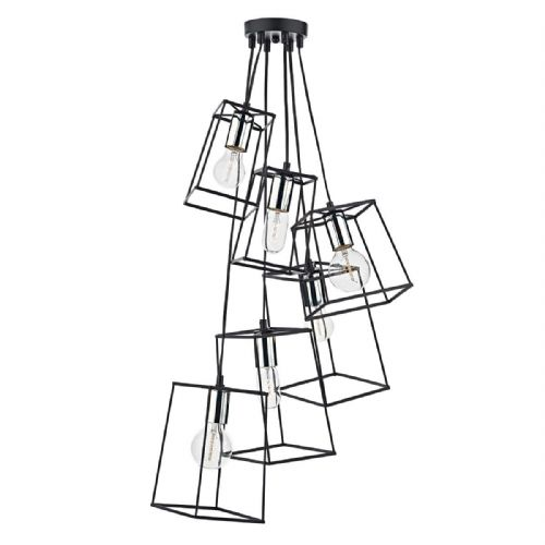Tower 6 Light Cluster Pendant Black / Polished Chrome